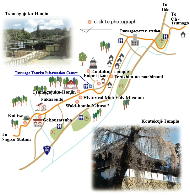 The map of Tsumago and the sights
